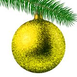 Realistic yellow Christmas ball or bauble with glitter sparkles and fir branch isolated on white background. Vector illustration. Vector realistic illustration Stock Photo