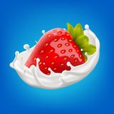 Milk splash with sweet strawberry 3d vector background illustration. Vector realistic illustration for your design needs Stock Images