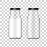 Vector realistic image mock up, layout of a transparent glass bottle stock photography