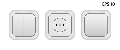 Vector realistic image of a socket and switches royalty free stock image