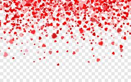 Vector realistic isolated heart confetti on the transparent background for decoration and covering. Concept of Happy Valentine`s stock illustration