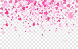 Vector realistic isolated heart confetti on the transparent background for decoration and covering. Concept of Happy Valentine`s royalty free illustration