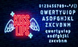 Vector realistic isolated neon retro signs of lips on the wall background for decoration and covering. Concept of vector illustration
