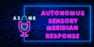Neon Autonomous sensory meridian response, Vector realistic isolated neon sign of ASMR frame logo for template. Vector realistic isolated neon sign of ASMR frame stock illustration
