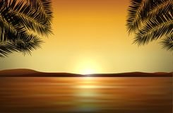 Vector realistic landscape with sunset by the sea in tropical pa. Radise and silhouettes of palms Royalty Free Stock Photo