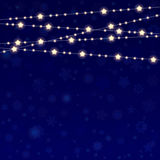 Vector realistic lantern garland on dark night sky background with snowflakes Royalty Free Stock Photos