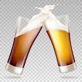 Vector light, dark beer in transparent glasses stock illustration
