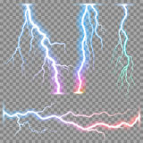 Vector realistic lightnings thunderbolt Royalty Free Stock Photography