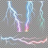 Vector realistic lightnings thunderbolt Royalty Free Stock Photography