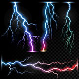 Vector realistic lightnings thunderbolt Royalty Free Stock Images