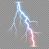 Vector realistic lightnings thunderbolt Stock Image
