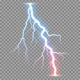 Vector realistic lightnings thunderbolt Stock Image