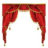 Vector realistic luxury red curtains with drapery. Vector realistic luxury red curtains in victorian style, with drapery, tied with golden cord with tassels Royalty Free Stock Photography
