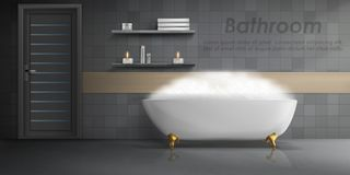 Vector mockup of modern bathroom interior. Vector realistic mockup of bathroom interior, big white ceramic bathtub with foam, shelves with candles, gray tiled royalty free illustration