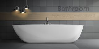 Vector mockup of modern bathroom interior. Vector realistic mockup of bathroom interior with big white ceramic bathtub, metal tap, tiled wall with lamps and vector illustration