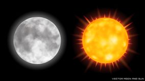 Vector realistic moon and sun on dark background. Vector realistic moon and sun with glow effect on dark background Royalty Free Stock Photos