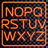 Vector realistic neon letters set Royalty Free Stock Photos
