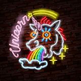 Vector realistic  neon retro sign of unicorn for decoration and covering on the wall background. Stock Photos