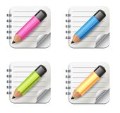 Vector Realistic Notepad Icon With Pencil. Icon set vector illustration