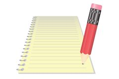 Vector Realistic Notepad With Pencil Royalty Free Stock Photography
