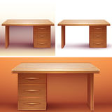 Vector realistic office wooden desk with shelves Royalty Free Stock Photography