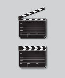 Vector realistic opened and closed clapperboards isolated on grey background. Royalty Free Stock Photography