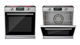 Vector realistic oven with induction cooktop. Vector 3d realistic compact oven with induction cooktop, with pre-set cooking programs, with open and close door vector illustration