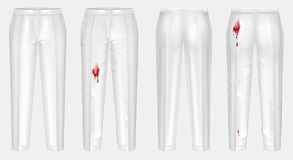 Vector realistic pants before and after washing. Vector realistic pair of pants, one dirty, crumpled with stain of wine, blood or ketchup, other white, clean and Stock Photography