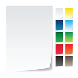 Vector, realistic paper with corner curl. Realistic paper with corner curl, for notice, announcement Stock Image