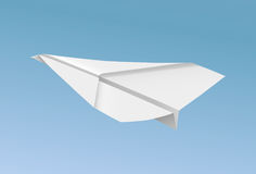 Vector realistic paper plane flying in blue sky illustration.  Stock Photography