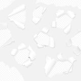Vector realistic paper with ripped edges collection. White torn paper set. Royalty Free Stock Images