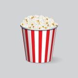 Vector realistic popcorn bucket isolated on grey background. Realistic popcorn bucket isolated on grey background. Vector illustration Stock Photo
