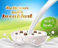 Vector realistic poster with a milk splash and milk pouring into a cup with a cereal breakfast, chocolate cereal balls. Design element for packaging and Royalty Free Stock Photography