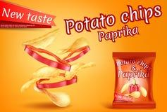 Vector realistic potato chips, paprika slices banner stock illustration