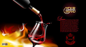Vector Realistic Pouring Red Wine Glass. Logo advertise mock up. Vibrant background with place for your branding. 3d Royalty Free Stock Photos