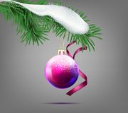 Vector christmas ball with snow-covered fir branch. Vector realistic purple christmas ball with snow-covered fir branch and decorative ribbon isolated on Stock Photography