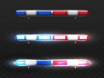 Vector realistic red, blue flashers for police car. vector illustration