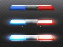 Vector realistic red, blue flashers for police car. royalty free illustration