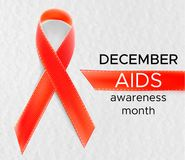 Vector realistic red riibon sign of aids and hiv awareness day and december month. design for poster card or banner.  Stock Illustration