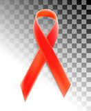 Vector realistic red riibon sign of aids and hiv awareness day and december month. design for poster card or banner Royalty Free Stock Images