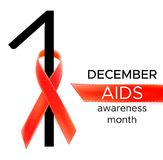 Vector realistic red riibon sign of aids and hiv awareness day and december month. design for poster card or banner.  Royalty Free Illustration