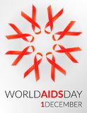 Vector realistic red riibon sign of aids and hiv awareness day and december month. design for poster card or banner. Royalty Free Stock Photos
