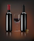 Vector realistic red wine bottles, wine cork and glass with mirror reflection. Royalty Free Stock Images