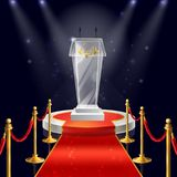 Vector podium with glass tribune for speaking. Vector realistic round podium with glass tribune for public speaking, red velvet carpet, ropes with golden vector illustration