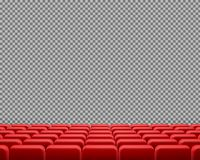 Vector realistic rows of red empty cinema chairs stock illustration