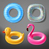 Vector realistic rubber rings - duck, pink, lifebuoy vector illustration