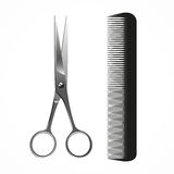 Vector Realistic Scissors and Comb,   on white. Barbershop concept Royalty Free Stock Photo