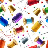 Vector seamless pattern with sewing tools stock illustration