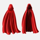 Vector realistic set of red cloaks with hoods. Isolated on white background. Carnival clothes, fancy dress, masquerade costume for superhero, vampire. Mockup vector illustration