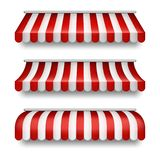 Vector realistic set of striped awnings for shops royalty free illustration